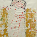 "Abstract Figure #2 (1981). 42.5"" x 32.5"" Mixed Media on Paper $1500.00"