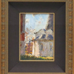 "Buildings (Oil on Cardboard, Framed: 16"" x 14"") $250.00"