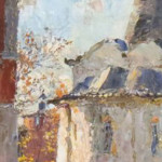 "Buildings (Oil on Cardboard, 9.25"" x 6.5"") $250.00"