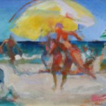"Untitled Beach Scene (Oil on Canvas, 16.5 x 51.5"") $1600.00"