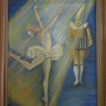"Verdi ""Ballerina with Clown"" (Oil on Board, 12.25"" x 15.7"")"