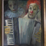 """Clown Playing Accordion"" (Oil on Canvas, 20"" x 24"") $550.00"