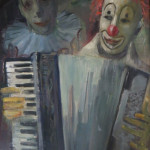 "Edith Montlack (1914 – 2003) ""Clown Playing Accordion"" (Oil on Canvas, 20"" x 24"")"