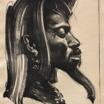 "''Head of a Lionman"" 1936 (Lithograph, 20"" x 16"")"