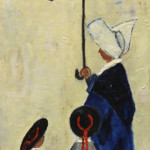 """Nun with Two Students"" 1964 (Oil on Board, 23.5"" x 14.5"")"