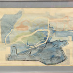 """Danube"" 1967. Acrylic, Watercolor and Ink on paper, Signed and Dated lower right, title label affixed verso (34.75"" x 25.75"") $350.00"