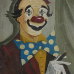 "Lee Ruocco ""Clown with Cigar"" (Oil on Board, circa 1940-50, 16"" x 20"")"