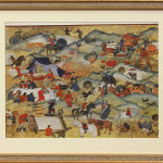 "Nomadic Community, Mongolian Painting.  Ink and Color on Paper, Signed (Framed: 25.25"" x 30"") $1800.00"