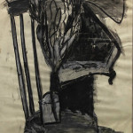 Abstract Chair with Plant (Charcoal and chalk on paper, 35'' x 23.25'')