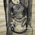 Abstract Baby in High Chair (Charcoal and chalk on paper, 35'' x 23.25'')