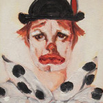 "Clown Portrait, Oil on Canvas, Signed (15.5"" x 13.75"")"