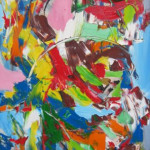 "Bright Abstract Composition (Acrylic on Canvas, 36"" x 18"") $1200.00"