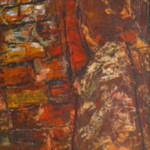 """Figure"" 1953 (33"" x 13"" Oil on Board, $300.00)"