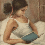 "Girl Enjoying a Book in Bed (Hand-colored lithograph, 27.75"" x 21.5"")"