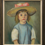 Portrait of a Young Girl with a Hat (Oil on board, inscribed ''Carr'' verso, overall (with frame): 28.5'' x 24.5'')