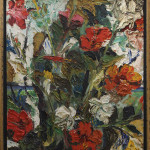 "Abstract Flowers, 20th century. (Oil on board, signed indistinctly lower left, overall (with frame): 27.75"" x 24.5"")"