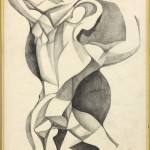 "Flexing Cubist Figure (Graphite on paper, pencil signed lower right, overall: 14"" x 11.25"")"